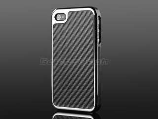 Deluxe Carbon Fiber Chrome Hard Case Cover F AT&T Verizon Sprint