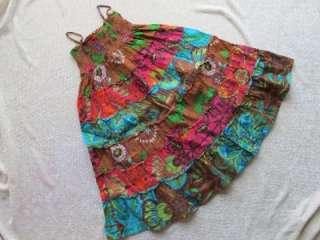Girls Gap Kids Cotton Maxi Tiered Dress Brown Orange Floral Smocked XS