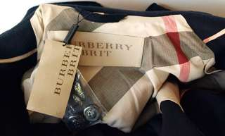 BURBERRY Brit New Womens Wool Cashmere Jacket Coat sz 36   2 Navy Blue