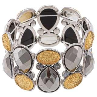 Sparkling Sage Silvertone Faux Druzy Stretch Bracelet
