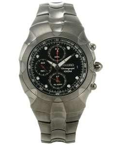 Seiko Mens Black Chronograph Titanium Watch