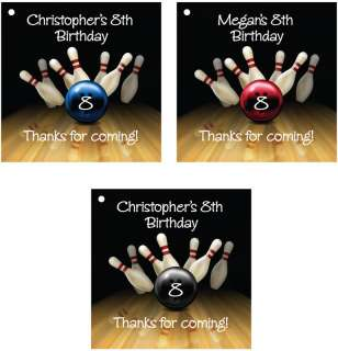 Bowling Birthday Favor Hang Tag Party 12, 2.5