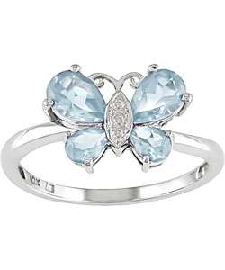 10k White Gold Blue Topaz Butterfly Ring