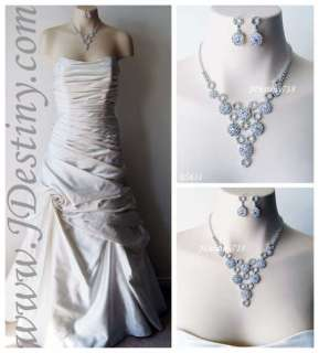 Wedding Bridal Crystal Necklace Earrings Set Prom B5631