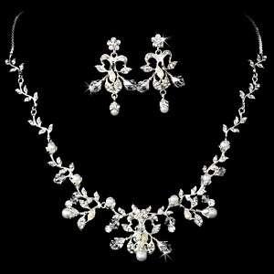 Wedding Bridal Necklace Earring Set Damask Silver