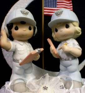 Bride Groom Soldier PRECIOUS MOMENT figurine Wedding Cake Topper
