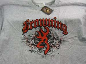 Browning SS T shirt Authentic TRIBAL LOGO Grey/Red NWT