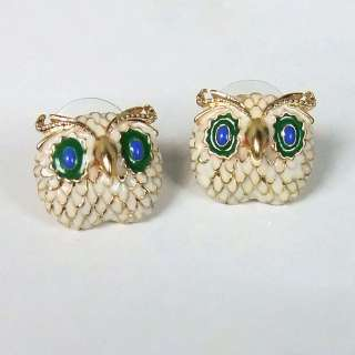 Gold Plated Colored Glaze Owl Ear Studs Unique Earrings