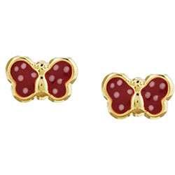 14k Yellow Gold Red Enamel Butterfly Childrens Earrings
