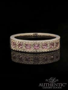 Estate 18K White Gold Pink Sapphire & Diamond Band Ring – Size 7