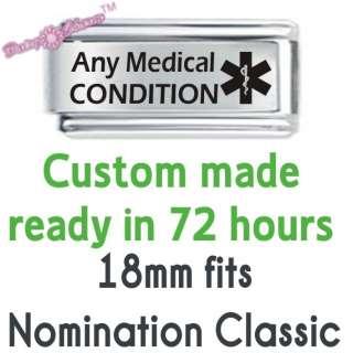 Personalised Custom Made Italian Charm   MEDICAL ALERT