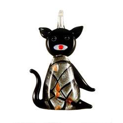 Murano style Glass Black and Silver Kitty Cat Pendant