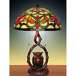 Tiffany style Stained Glass Owl Table Lamp