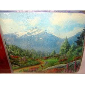 Tempered Glass Cutting Board 12 x 8 Mountain Scene