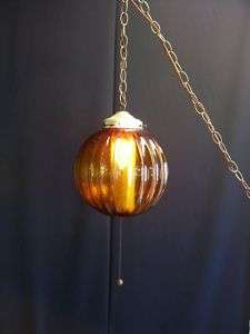 Vtg Mid Century Amber Glass Swag Lamp Hanging Light