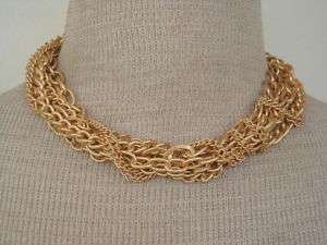 Vintage Gold Tone Chain Torsade Necklace Earrings Set