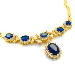 JEWELRY BLUE SAPPHIRE YELLOW GOLD P PENDANT NECKLACE NECK CHAIN