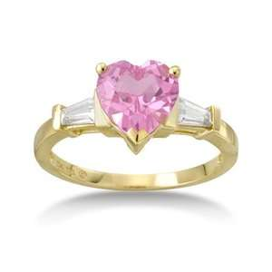 Heart Shaped Pink Sapphire Ring, Yellow Gold Pink Sapphire Ring, Pink