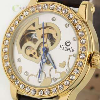 Luxury Gold Steel Case Heart Pattern Crystal Womens Automatic Watch
