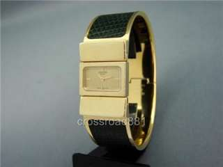 Ladies Hermes Gold Plated Loquet Watch Gold Dial & Green Lizard Band
