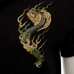 Ed Hardy Mens Snake Black Polo Shirt