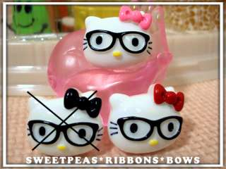Two Hello Kitty Nerd Resins with RED Bows M2M Nerd grosgrain ribbon