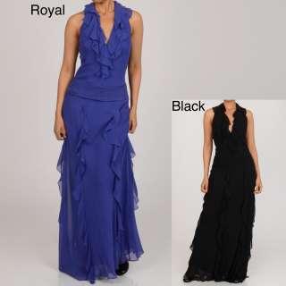 New York Womens Halter Ruffle Long Evening Dress  Overstock