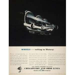 1942 Ad Chesapeake Ohio Chessie Kitten Train Wheel WWII   Original