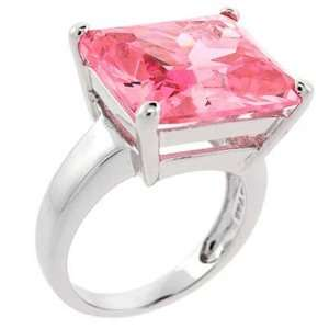 Sterling Silver Emerald cut Pink Sapphire Bling Ring Glitzs Jewelry