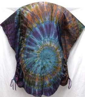 Tie Dye RAYON Batwing Cape Tunic LONG TOP Shirt 2XL PLUS 1X, Gypsy