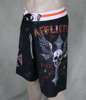 AFFLICTION Mens LIVE FAST CUSTOMS Skull board shorts black 01BS426