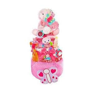 Butterfly Kisses 3 Tier Diaper Cake by Baby Gift Basket Baby