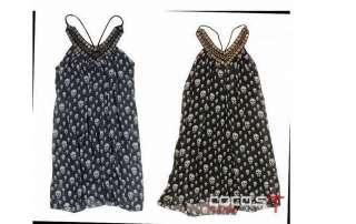 Women Girls Nana Punk Gothic Skull Dress T Shirt size M
