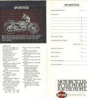 1982 Harley Davidson Sportster Specification Sheets