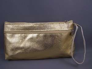 Gold snake print faux leather wristlet coin purse NEW