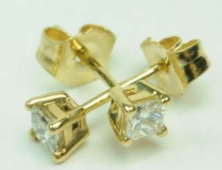 14K YELLOW GOLD DIAMOND PRINCESS CUT STUD ESTATE EARRINGS J207017