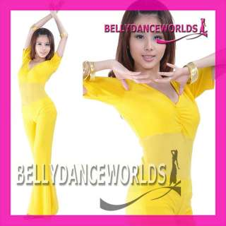 BELLY DANCE 2 PC COSTUME SET TOP + FLARE PANTS 9 COLORS