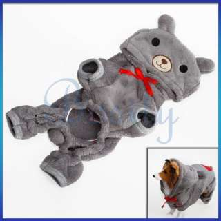 Puppy Pet Doggy Dog Fluffy Hooded Coat Warm Winter Jumpsuit Soft Xmas