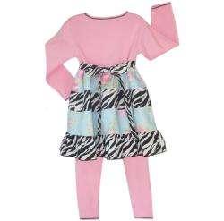 Ann Loren Girls Floral Zebra Dress and Leggings Set