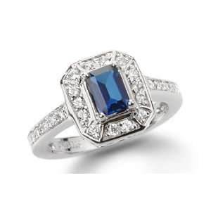 1.02 Ct Round Sapphire Solid 14K White Gold Ring   New