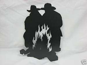 Cowboy Campfire Metal Plasma Art Wall Hanging