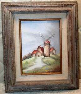 Sweet 6 x 8 Dutch Windmill Oil Painting on Canvas in Rustic Wood Frame