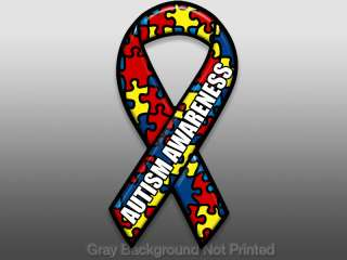 Autism Awareness Letters on Ribbon Sticker  shape decal