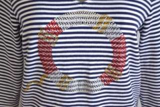 stretch blend striped nautical rhinestone shirt top 2 L 12