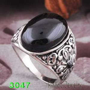 10 oval black men rings Ancient silver plated free shop romantic2012
