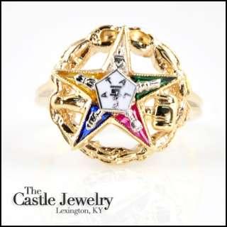 LADIES EASTERN STAR 14 KARAT GOLD RING STAR EMBLEM