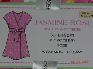 Jasmine Rose Short Micro Terry Robe S/M Polka Dot NWT