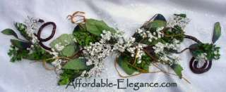 WHITE Berry PRIMITIVE Silk Flowers SWAG Wedding Arch Gazebo Decor