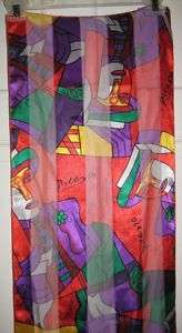 Picasso Long Neck Scarf Bright Colors Gently Used