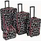 Rockland Luggage 4 Piece Expandable Luggage Set   Pink